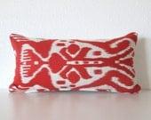 Ikat red off white 8x16 mini lumbar pillow cover