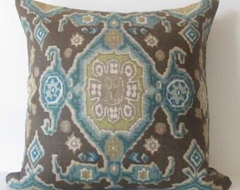 Lee Jofa Perseus Print Sepia 18x18 brown teal decorative throw pillow
