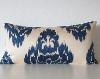 Pillow SALE Duralee Kalah 12x18 indigo blue ikat medallion lumbar pillow cover