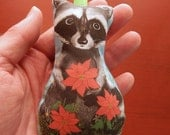Baby Raccoon with Poinsettias Fabric Holiday Christmas Ornament