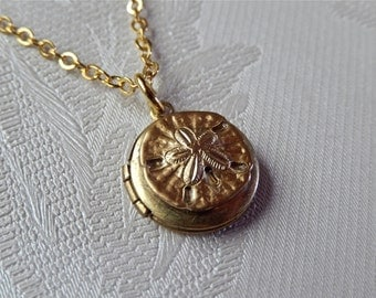Tiny Brass Locket, Tiny Sand Dollar, Ocean Inspired