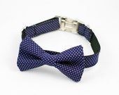 Navy Pin Dot Bow Tie Dog Collar