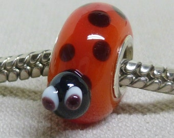 Handmade Glass Lampwork Bead Fits European Charm Bracelets Silver Cored Ladybug Bead