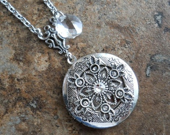 Swarovski Snowflake Locket in Silver, Ice Queen Locket, Original and Exclusively by Enchanted Lockets