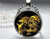 Indian & Wolf Acrylic Painting, Resin or Glass Round Silver Plated Art Pendant, Ball Chain Necklace