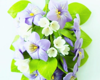 Handmade Miniature Polymer Clay Flowers Violet Blossom Bunch for Bouquet and Handmade Gifts