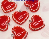 4 Puff  Heart Lucite Charms. 2 Tones. Dark Orange and White Tone.
