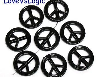 10 Peace Symbol Acrylic Beads. Black