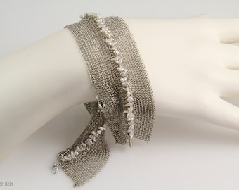 Pearl and Mesh Embroidery Sterling Bracelet, AC1016 by Ashley Childs