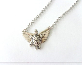 Silver Winged turtle necklace