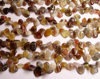 Botswana agate Gemstone - briolette - pebble-  nugget - chip stone -  bead  -full  strand - NRG83