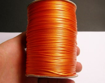 Polyester wax cord - 1mm - high quality - 160 meter - 524 foot - tangerine orange - full roll -  PEC5