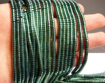 Hematite aqua green - 4mm heishi beads - full strand -190 beads - AA quality - 4x2 - PHG72