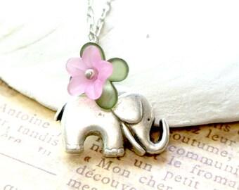 Elephant Necklace, Elephant with Purple Flower Necklace, Lucky Elephant Necklace, Animal Jewelry, Friendship Necklace,Everyday Necklace