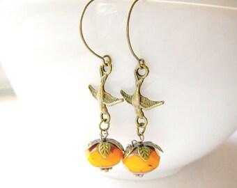 Swallow with Pumpkin Earring, Pumpkin Earrings, Halloween Jewelry, Thankgiving Jewelry