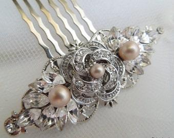champagne swarovski Pearls Bridal hair comb Pearl Rhinestone Hair Comb Bridal Rhinestone Hair Comb Wedding Rhinestone Hair Comb ROSELANI