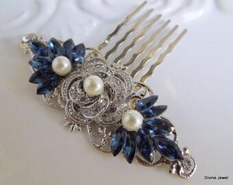 Pearl Bridal Rhinestone Hair Comb Wedding Rhinestone Hair Comb Rose Rhinestone Hair comb vintage style Something Blue Hair Comb ROSELANI