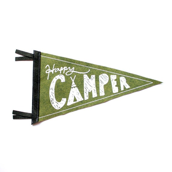 Happy Camper Wool Pennant Flag, Wall Hanging, Gift for Baby, Room Decor, Vintage Camping, Art for Kids Room, Wall Hanging, Printed Banner