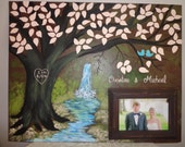 Wedding guestbook canvas with picture frame.....22 X 28.....200 painted leaves...Waterfall...Just beautiful