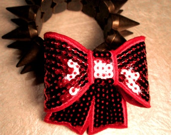 RED SEQUIN BOW-Big Sequin Bow Hair Clip