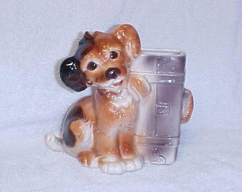 Royal Copley  Terrier Pup With Suitcase Vintage Dog Figurine Planter Pottery 1940's