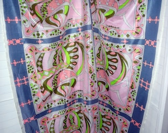 Pucciesque Vintage Fabric 1960s or 70s Nylon or Poly Wild & Wonderful Print 47 by 51 inches Salvage on both sides Psychedelic