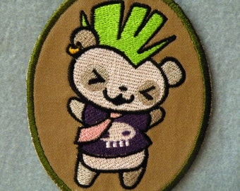 Punked Out Panda Iron on Patch