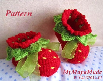 Crochet Pattern - Red Strawberry Baby Girl Booties PDF Pattern - BT04132014-02 - Instant Download
