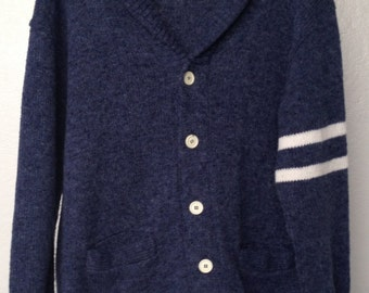 1980s Cardigan Boyfriend Sweater Button Front with Shawl Collar