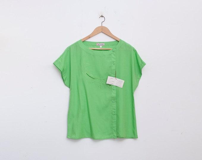 NOS vintage 80s shirt blouse green box top