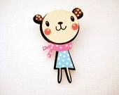 Wood laser cut dressed bear brooch pin - Happy Girl