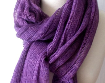 Scarf Linen Shawl Knitted Natural Summer Wrap in Purple Violet