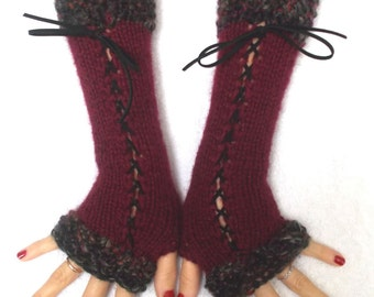 Fingerless Gloves, Long Corset Arm Warmers Handknit in Dark Red / Burgundy Victorian Style