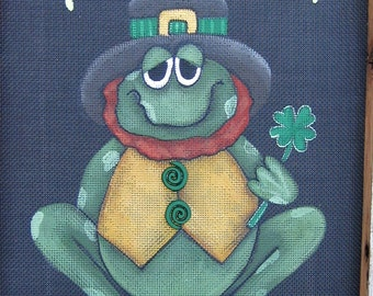 Toad'ly Irish Toad or Frog, Tole Painting Pattern, St. Patrick's Day Sign, Shamrock, Toad, Frog, Instructional  Pattern, DIY,Blackscreening