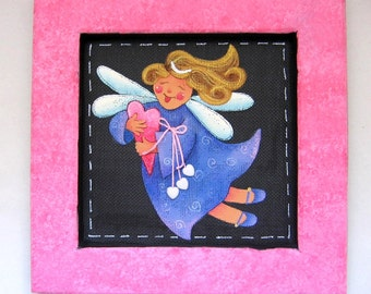 Girl Angel with Hearts Framed in Pinks, Reclaimed Hand Made and Crafted Wood Frame,Tole Painted, Mother's Day, Valentine's Day Gift,  Angel
