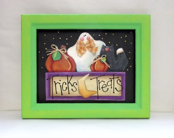 Trick or Treat Sign with White Ghost, Orange Pumpkins, and a Black Cat, Tole Painted, Reclaimed Wood Frame painted in Green, Halloween Sign
