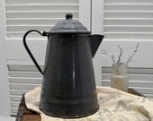 Grey Graniteware Coffee Pot - farmhouse enamel gray coffeepot