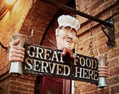 Rustic Kitchen Wall Art - Good Food - brown, burgundy, brick red, vintage sign, chef, dining room decor