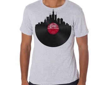 Chicago Skyline Record Tee - Men's