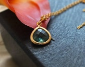 Erinite Necklace, Drop Pendant Necklace with Gold Filled Chain - Also Available in Silver, Delicate Jewelry, Wedding Jewelry, Custom Jewelry