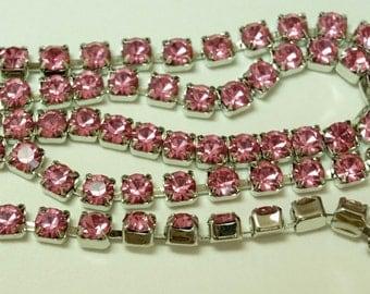 Swarovski Rhinestone 4mm Rose Pink Chain Silver Plated (1) foot