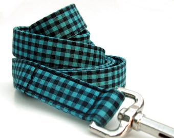 Gingham Dog Leash in Black and Teal
