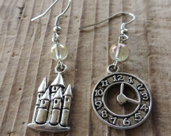 Labyrinth Inspired Silver Charm and Crystal Balls Dangle Earrings