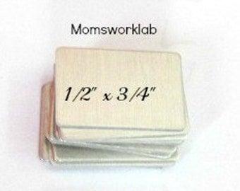 1/2 x 3/4 Aluminum rectangles -  24 gauge  - hand stamping blanks -metal blanks