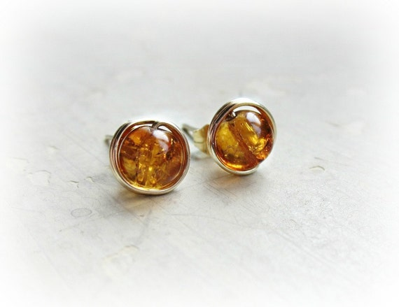Amber Stud Earrings, Crackle Glass Posts, Gold Wire Wrapped Post Earrings, Amber Glass Beads, Honey Orange, Handmade by Contempo Jewelry