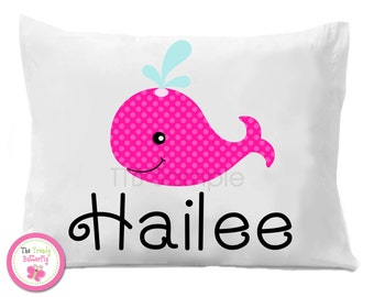Pink Whale Personalized Pillow Case
