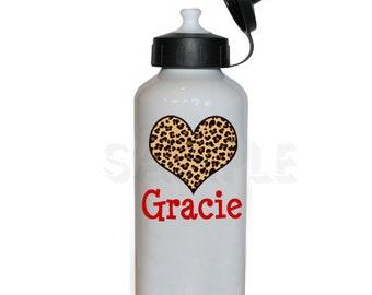 Leopard Heart Water Bottle