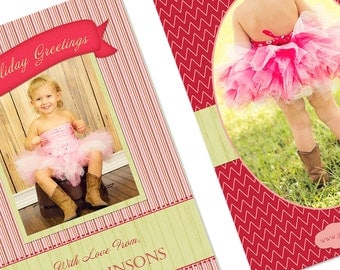 Instant Download Holiday/Christmas/Winter Card Template - JOY-5 - Perfect for Photographers - 5x7 Flat - Two Sided - Vertical