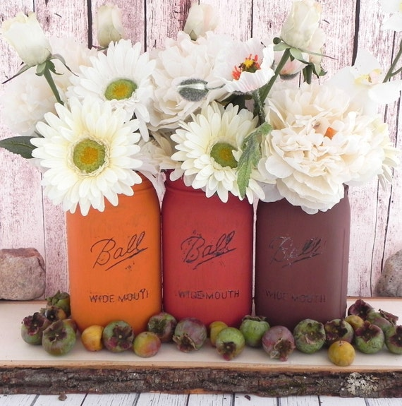 items similar to shabby chic jars for fall wedding decor fall home decor fall colors