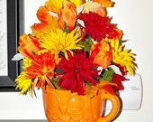 Owl Fall Floral Centerpiece OOAK